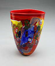 Ruby Color Field Vase with Yellow and Blue by Wes Hunting (Art Glass Vessel)