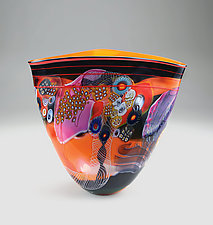 Mandarin Color Field Vase with Fuchsia by Wes Hunting (Art Glass Vessel)