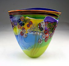 Color Field Vase in Lime and Aqua by Wes Hunting (Art Glass Vase)
