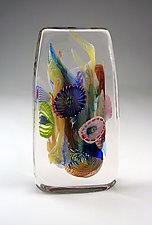 Rectangular Crystal Optical by Wes Hunting (Art Glass Sculpture)