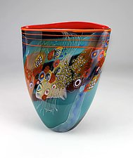 Teal Color Field Vase with Red by Wes Hunting (Art Glass Vessel)