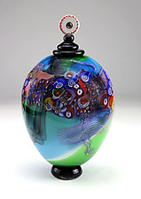 Color Field Jar in Aqua and Lime by Wes Hunting (Art Glass Vessel)