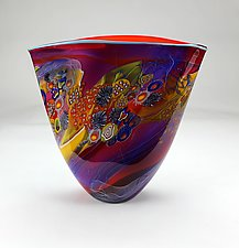 Amethyst Color Field Vessel with Ruby by Wes Hunting (Art Glass Vessel)