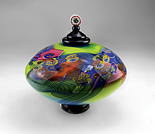 Color Field Lidded Disk in Aqua and Lime by Wes Hunting (Art Glass Vessel)