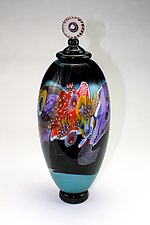 Color Field Jar in Teal and Black by Wes Hunting (Art Glass Vessel)