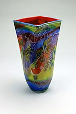 Color Field Square Vessel by Wes Hunting (Art Glass Vase)