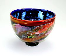Color Field Bowl with Iridescent Blue by Wes Hunting (Art Glass Bowl)
