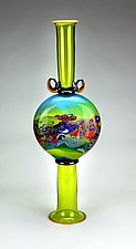 Color Field Amphora in Lime by Wes Hunting (Art Glass Vessel)