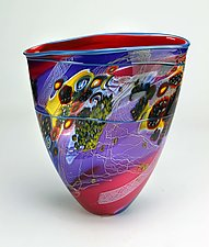 Medium Colorfield Vessel in Sunset Hues by Wes Hunting (Art Glass Vessel)