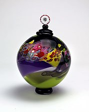 Color Field Jar in in Purple and Lime by Wes Hunting (Art Glass Vessel)