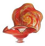 Red Yellow Wavy Bowl by Mark Rosenbaum (Art Glass Bowl)