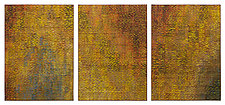 Golden Shimmer Triptych by Tim Harding (Fiber Wall Hanging)