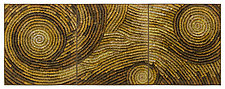 Gold Coils triptych by Tim Harding (Fiber Wall Hanging)