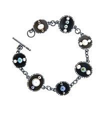 Oxidized Silver Cup Bracelet by Barbara Bayne (Silver & Pearl Bracelet)
