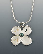 Small Flower Pendant by Barbara Bayne (Silver, Gold & Pearl Necklace)
