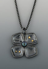 Oxidized Dogwood Pendant by Barbara Bayne (Silver, Gold & Pearl Necklace)