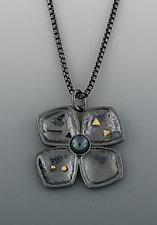 Oxidized Dogwood Pendant by Barbara Bayne (Silver, Gold & Pearl Necklace)