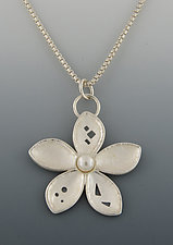 Small Flower Pendant 2 by Barbara Bayne (Gold, Silver, & Pearl Necklace)