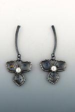 Three Petal Flower Earrings by Barbara Bayne (Gold, Silver & Pearl Earrings)