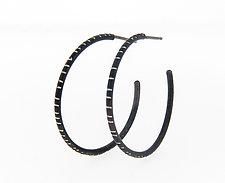 Medium Oxidized Silver Hoop Earrings by Barbara Bayne (Silver Earrings)