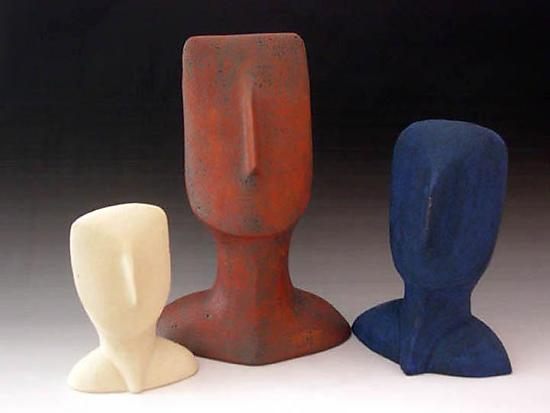 Cycladic Head Sculpture Trio