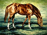 Secretariat grazing by Werner Rentsch (Oil Painting)