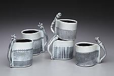 Dark Blue & White Espresso Cups by Marion Angelica (Ceramic Cup)