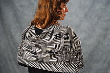 Black & White Dominoes Shawl by Muffy Young  (Silk Scarf)