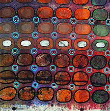 Bubbles and Cracks on Ice on Fences #4 by Jeanne Williamson  (Mixed-Media Painting)