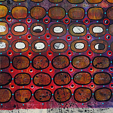 Bubbles and Cracks on Ice on Fences #9 by Jeanne Williamson  (Mixed-Media Painting)