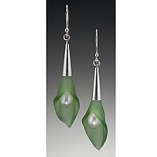 Color Calla Lily Earrings by Eloise Cotton (Glass, Silver & Pearl Earrings)