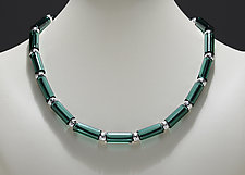 Lake Green Tube Bead Necklace by Eloise Cotton (Art Glass Necklace)