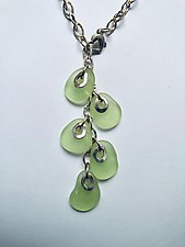 Flat Baroque Bead Necklace in Green by Eloise Cotton (Silver & Stone Necklace)