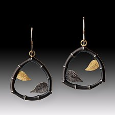 Bamboo & Leaf Earrings by Susan Mahlstedt (Gold & Silver Earrings)