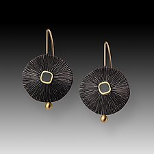 Oxidized Sand Dollar Earrings by Susan Mahlstedt (Gold & Silver Earrings)