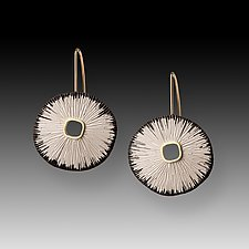Bright Sand Dollar Earrings by Susan Mahlstedt (Gold & Silver Earrings)