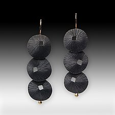 3 Overlapping Sand Dollars by Susan Mahlstedt (Gold & Silver Earrings)