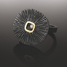 Sand Dollar Ring with Diamond by Susan Mahlstedt (Gold, Silver & Stone Ring)