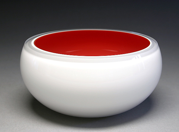 Overlay Bowl in Red & White