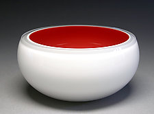 Overlay Bowl in Red & White by Scott Summerfield (Art Glass Bowl)