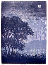 Misty River by Penny Feder (Woodcut Print)