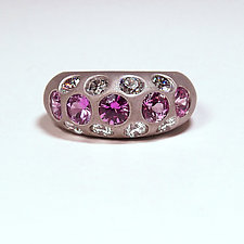 Pink Sapphire and Diamond Band by Eva Seid (Gold & Stone Ring)