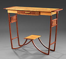 Bamboo Walnut Entryway Table by Mark Del Guidice (Wood Console Table)