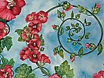 Hollyhock Spiral by Helen Klebesadel (Watercolor Painting)