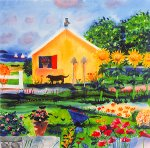 Queenie and the Owl on the Little Garden Shed by Mike Smith (Giclee Print)