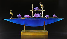 Blue Ibis Boat by Georgia Pozycinski and Joseph Pozycinski (Art Glass & Bronze Sculpture)