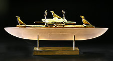 Crow Boat Two by Georgia Pozycinski and Joseph Pozycinski (Art Glass & Bronze Sculpture)