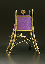 Purple Sparrow Hawk Box by Georgia Pozycinski and Joseph Pozycinski (Art Glass & Bronze Sculpture)