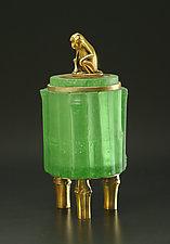 Green Monkey Box by Georgia Pozycinski and Joseph Pozycinski (Art Glass & Bronze Sculpture)