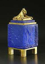 Blue Octopus Box by Georgia Pozycinski and Joseph Pozycinski (Art Glass & Bronze Sculpture)